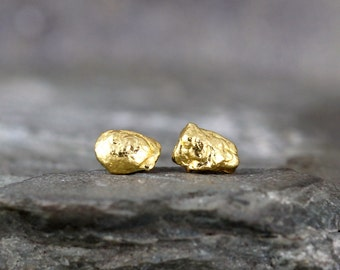 Natural Gold Nugget Earrings - Stud Earrings - Real Gold Nugget Earring - For Men or Women - Yukon Gold - Made in Canada
