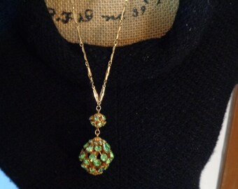 Prong Set Crystal RHINESTONE BALL PENDANT Peridot  Green Rhinestone Pendant Necklace 24 inches long  Goldplate