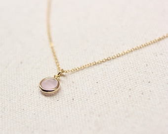 Pink Pendant Necklace / Rose Framed Glass Layering Necklace / Bridesmaid Necklace