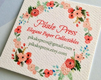 Personalized Floral Business Cards, Calling Cards, Set of 48