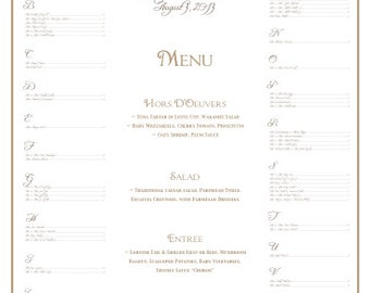 Wedding Seating Chart with Menu