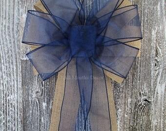 Navy Blue Sheer Burlap Pew Bow, Rustic Wedding Bridal Baby Shower Boy Girl Gender Reveal Party