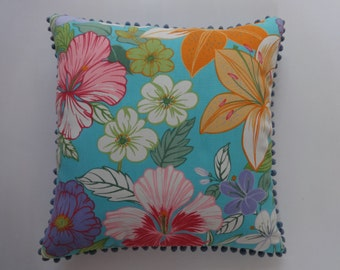 floral pillow. sky blue pillow with pom pom edge.  colourful  floral  fun pillow. 18x18inch.