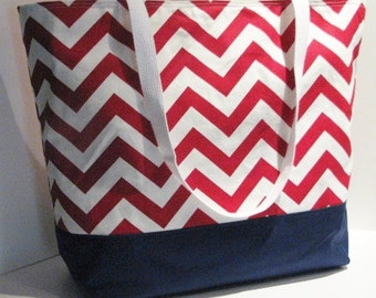 Large Chevron Tote bag . Red White with Navy Large chevron beach bag . teacher tote . Monogramming Available . bridesmaid gift