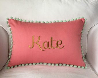 Personalized Pom Pom Pillow Cover