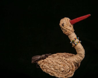 Straw Folk Art Crane With Bead Necklace and Wooden Beak