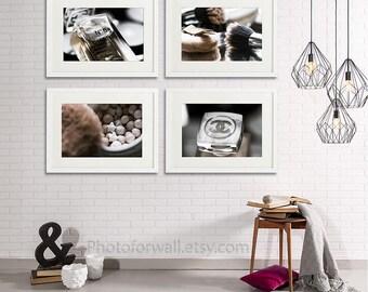 Chanel Bathroom wall decor/set of 4 prints/makeup/Bathroom Art/Chanel Bathroom set/white brown/large wall art/Chanel decor/Chanel prints