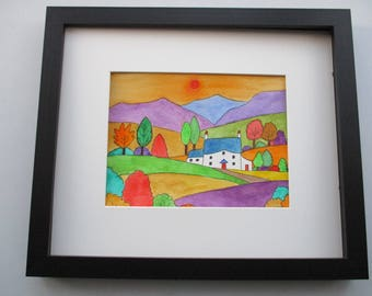 Autumn Splendor Cottage Scene