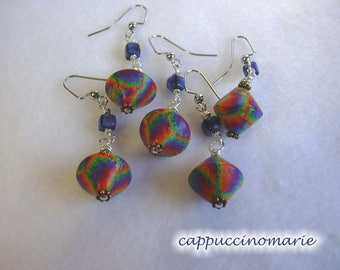 Rainbow tie-dye earrings - one-at-a-time