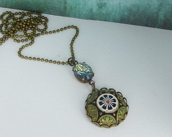 "oriental necklace ""1001 night"" bronze  chain / Cabochon necklace / short chain / gift for her / gift under 20"