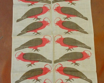 Vintage 60s-70s Rodriguez Handprinted Teatowel/ Australian Bird Print Linen Tea Towel /Wall Hanging Boho Retro Woodland