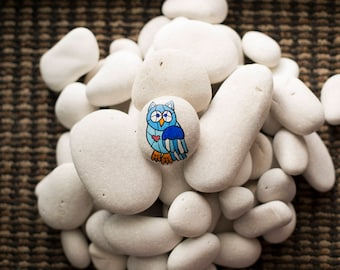 Stained Glass Style Owl Painted Rock
