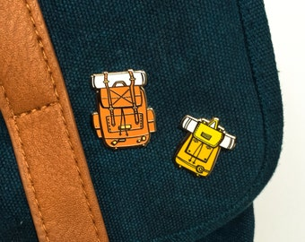 His and Hers Backpack Hard Enamel Pin Badges