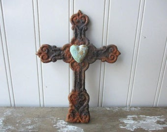 Rustic cast iron crossnfaux rust verdigris heart wall hanging metal cross brown Spiritual Divine Religious Rustic decor small cross SMR4