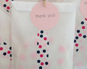 Party Favor Bags - Birthday Favor Bags - Treat Bags - Thank You Favors - Thank You Bags - Pink Favor Bags - Navy Blue Favor Bags