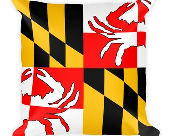 Maryland Crab Flag Square Pillow