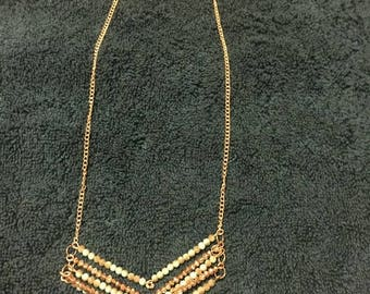 Turquiose and peach Crystal V-Shaped gold chain Necklace