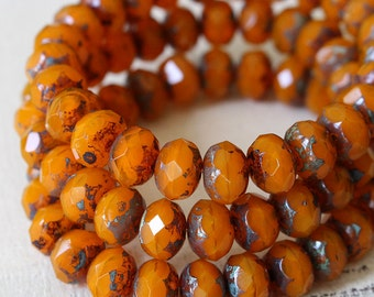 9x6mm Faceted Rondelle Beads - Czech Glass Beads - Jewelry Making Supply - 6x9mm Czech Beads - Orange Opaline With Picasso - Choose Amount