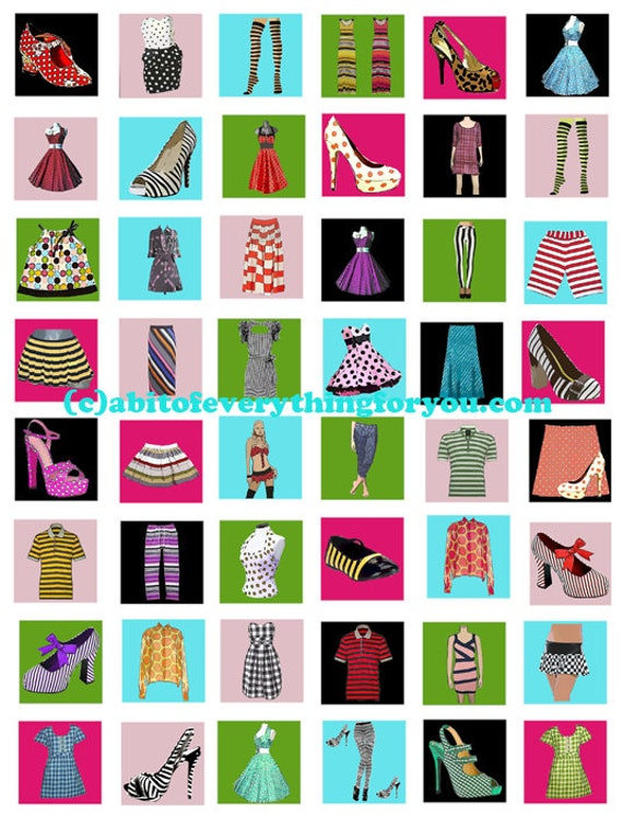dresses shoes fashion clothing clipart collage sheet 1 inch squares digital download graphics images craft pendant pins printables