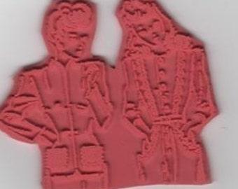 Gossip Girls Vintage Retro Image Unmounted Rubber Stamp zNe