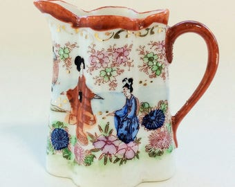 Antique Japanese Geisha Girl Porcelain Cream Pitcher, Vintage Ceramic