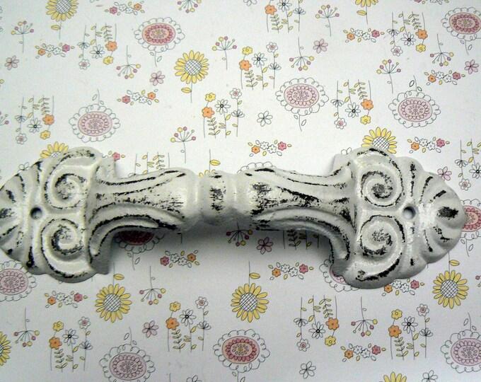 Barn Door Cabinet Gate Handle Ornate Fleur Cast Iron Shabby Chic White DIY