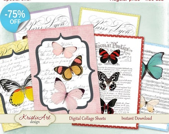 75% OFF SALE Butterflies ATC Cards - Digital Collage Sheet Greeting Cards Printable download tags digital image cardmaking butterfly collage