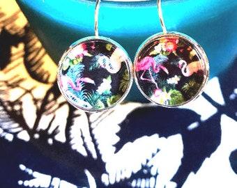 Flamingo cabochon earrings- 16mm