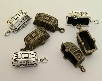 5 Pieces Antique Silver or Bronze Camper Trailer Charm Pendants for Jewelry Making DIY Handmade Craft  Charm 23mm x 6mm A16D