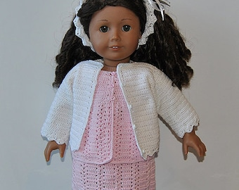 """Instant Download - PDF Crochet Pattern - 18"""" AG Doll Clothes 40 -Cardigan, Top, Skirt and Hairband"""