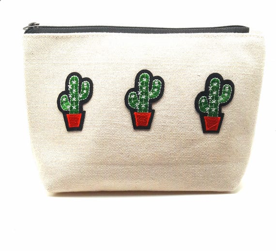 Cactus cotton canvas zip pouch//Embroidery patch cactus travel bag//Cosmetic Jewelry Makeup Storage Travel Accessory Organizer Pouch