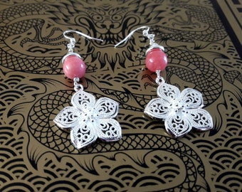 Sterling silver flower earrings | 925 Silver filigree earrings | Drop earrings Pink Gemstone earrings Bridesmaid earrings Elegant earrings
