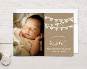 Birth Announcement Girl Floral and Lace Bunting
