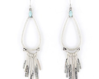 Special Silver-tone Tear Drop and Slim Plate Dangle EARRINGS A5
