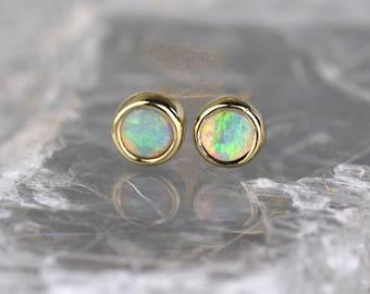 Opal Studs | Gold Opal Studs | Opal Earrings | Tiny Earrings | Tiny Gold Studs | Simple Gold Earrings | Alison Moar | Scottish Jewellery