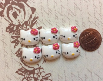 Last SET of 6 Cabochons Kitty Cat with Bow Resin Flatback/trim/diy/embellishments/cards/scrapbooking/hair clip/hair bow