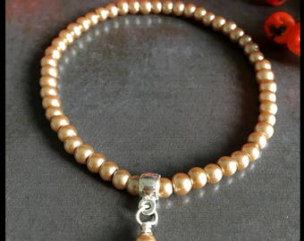 Pearl stretch bracelet with charm, boho, stackable, birthday, womens bracelet, mothers day gift, gift for her, ladies bracelet,