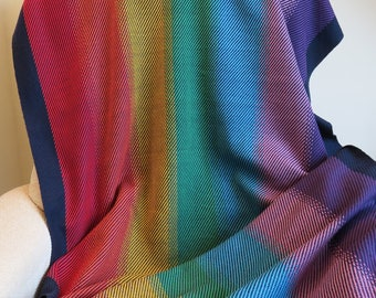 Custom Made, Hand Woven Rainbow Lap Blanket, Cotton Blanket, Knee Blanket, Chair Throw, Wheelchair Rug, Made to Order