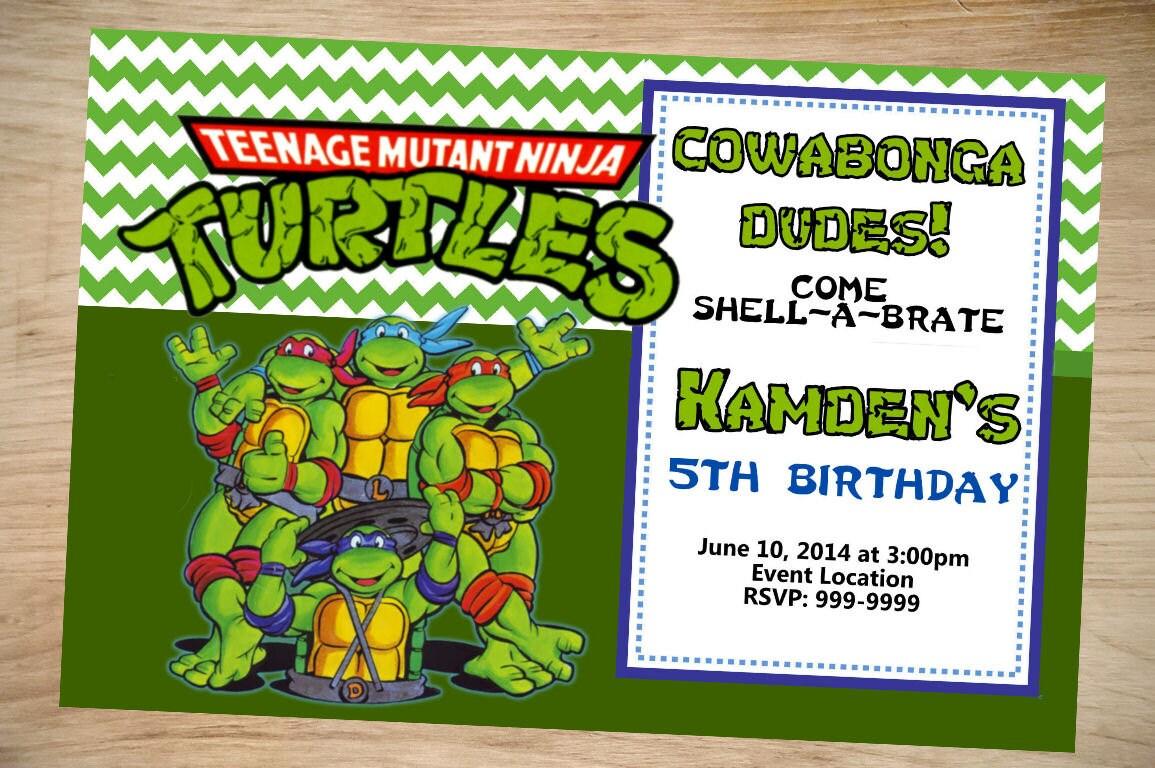 Teenage mutant ninja turtles birthday invitation teenage zoom filmwisefo