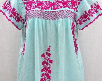 """Embroidered Peasant Blouse: """"La Marina Corta"""" in Pale Blue with Magenta Pink Embroidery ~ Size MEDIUM"""