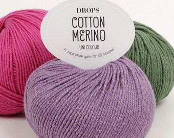 Cotton Merino yarn! - Garnstudio DROPS design DK Knitting wool 50% Extra Fine Merino wool 50 Egyptian Cotton 50g