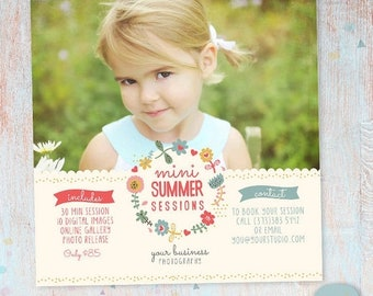 ON SALE Summer Mini Sessions - Marketing Board - Photoshop template - IH003 - Instant Download