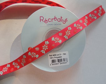 Ribbon candy pattern red background grosgrain