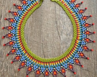 Beaded Necklace / Mandala Bead Work/ Native American/ Embera Necklace /Colombian Beads / Cuellos Embera