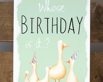"Whose Birthday Is It? Ducks Geese Blank Greeting Card 7x5"""