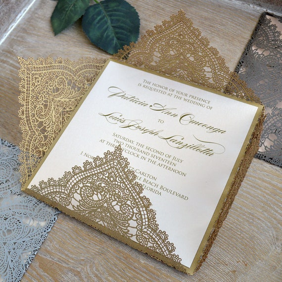 GOLD CHANTILLY LACE Laser Cut Wrap Invitation - Gold Square Laser Cut Wedding Invitation with Ivory Shimmer Insert and Belly Band