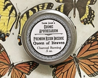 Queen of Heaven resin incense - .5 oz in a screw top metal tin.
