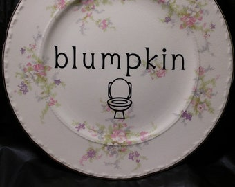 Blumpkin Antique Shabby Vintage Rude Plate White Elephant Funny Sexy