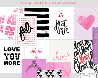Instant Download! Love You More- Digital Valentines Journal Cards for Project Life, card making, collage