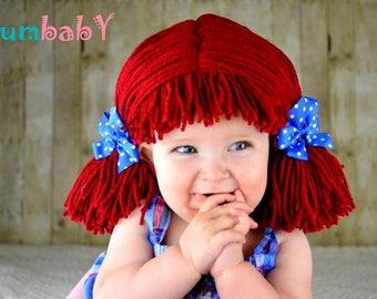 Raggedy ann wig, Baby hat, Newborn Halloween Costume, baby costume, Raggedy ann costume, girl costume, baby hats, photo prop